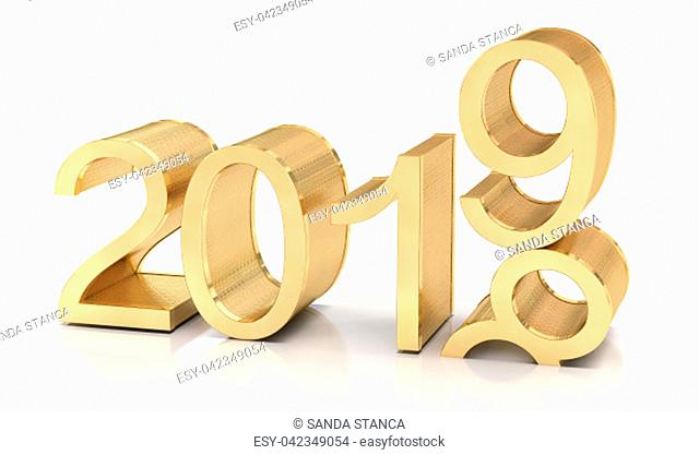 3D Golden 2019. 2018-2019 change represents the new year 2019