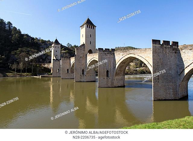 Medieval stone Pont Valentré bridge, Lot river, Cahors, UNESCO World Heritage, France