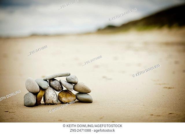 Twelve stones on a beach. Ireland
