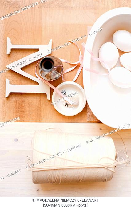 Twine letter M ribbon and eggs