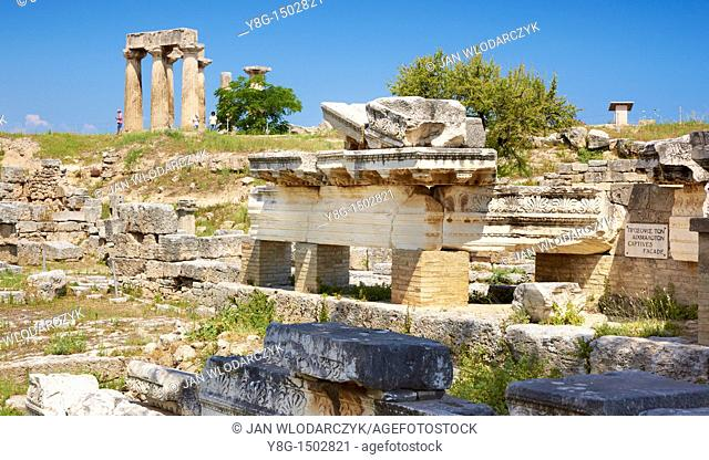 Ruins of the ancient city of Corinth, Peloponnese, Greece