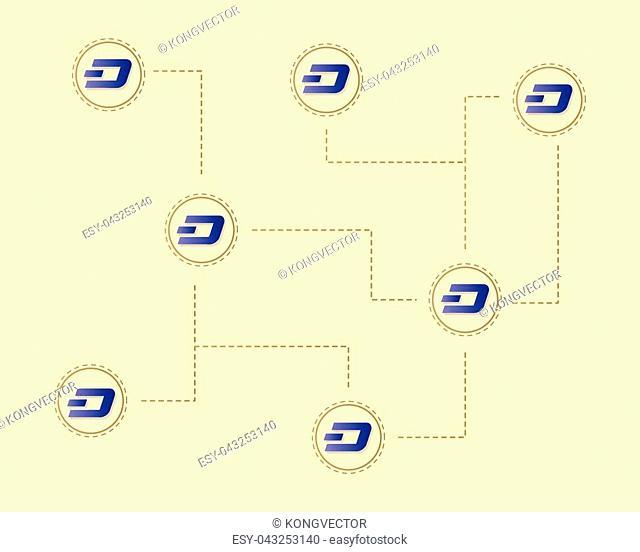 Dash blockchain concept technology background vector illustration
