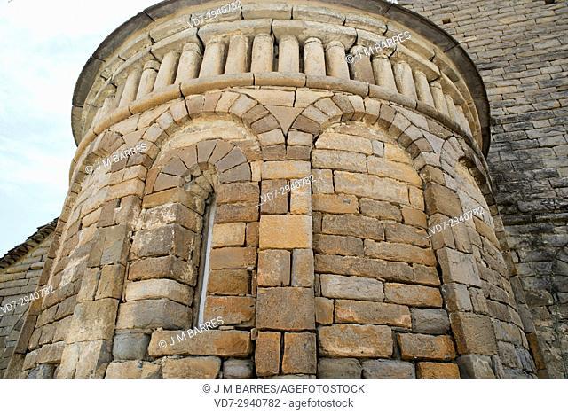 San Pedro de Larrede mozarabic or romanesque church, apse detail. Sabinanigo municipality, Sobrarbe, Huesca province, Aragon, Spain