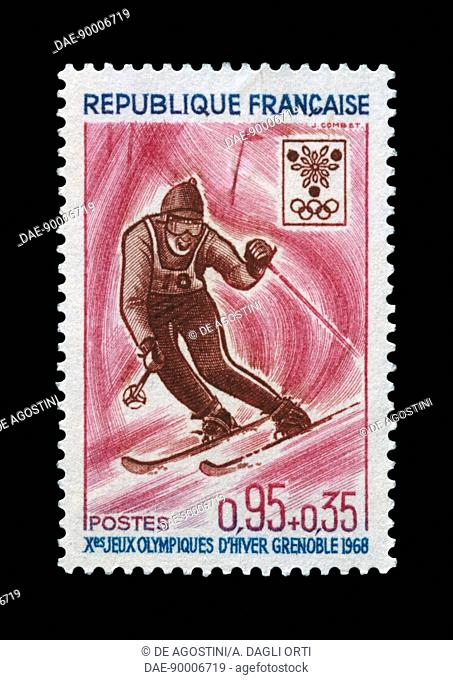Postage stamp commemorating 10th Olympic Winter Games Grenoble, 1968, depicting Slalom. France, 20th century