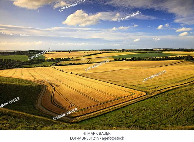 England, Wiltshire, near Cherhill. View across flat plains from Oldbury Castle Iron Age hillfort near Cherhill