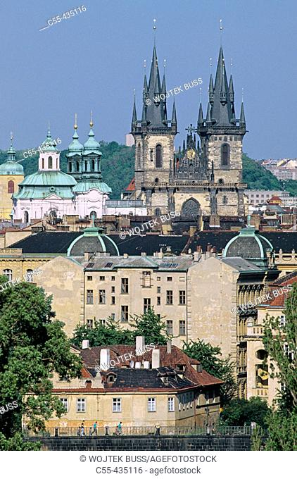 Our Lady of Tyn church. Old town overview. Prague. Czech Republic