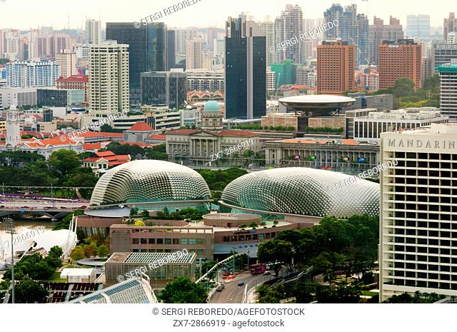 Theatre on the Bay aka The Durian, Esplanade aerial view- Theatres on the Bay and Singapore River, Singapore