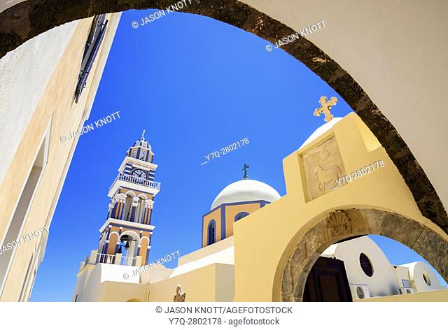 Framed arch views of St. John the Baptist Cathedral in Fira, Santorini, Cyclades, Greece