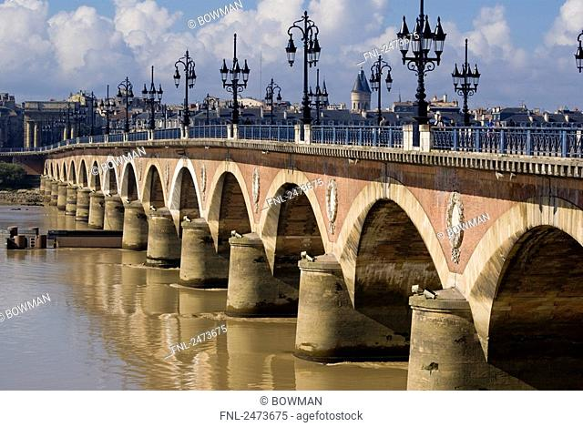 Arch bridge over river, Pont de Pierre, Garonne River, Bordeaux, Gironde, Aquitaine, France
