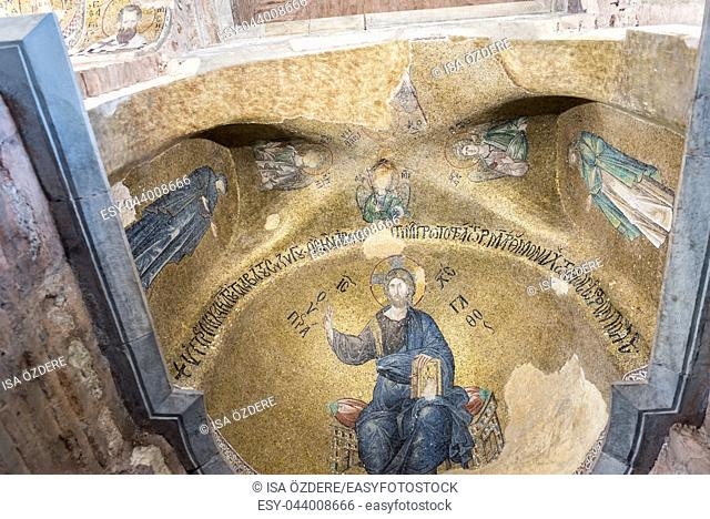 Ancient mosaic depicting Jesus Christ in Theotokos Pammakaristos Church at Fethiye Camii in Carsamba vicinity of Fatih county of Istanbul,Turkey