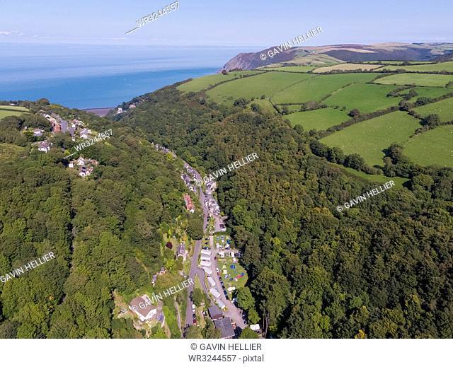Wooded valley on the north Devon coast, Lynton, Exmoor, Devon, England, United Kingdom, Europe