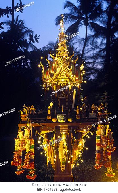 Illuminated spirit house at night, Koh Chang Island, Trat, Thailand, Southeast Asia