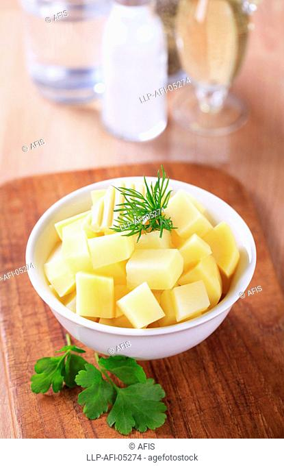 Diced potatoes and butter