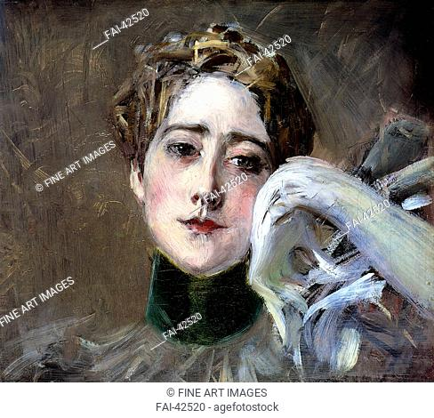 Portrait of Countess of Isenburg-Birstein by Boldini, Giovanni (1842-1931)/Oil on canvas/Art Nouveau/1898/Italy/Private...