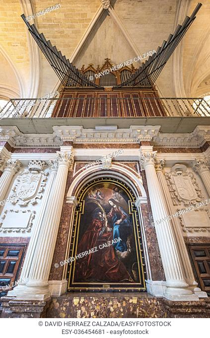Interior of Famous Landmark Burgos gothic cathedral in Burgos, Spain