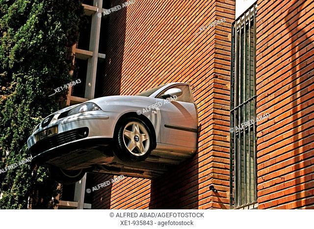 Car sculpture, Zona Franca's avenueu, Barcelona, Catalonia, Spain