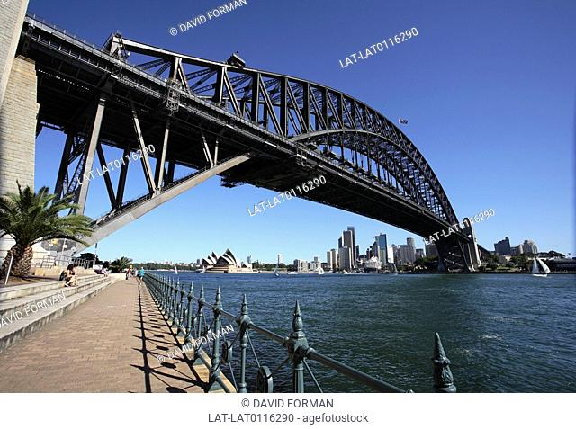 The Sydney Harbour Bridge is a steel arch bridge across Sydney Harbour that carries rail,vehicular and pedestrian traffic between the Sydney central business...