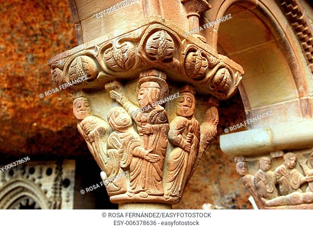 Restored capital, Romanesque Monastery of San Juan de la Peña, Huesca, Aragon, Spain