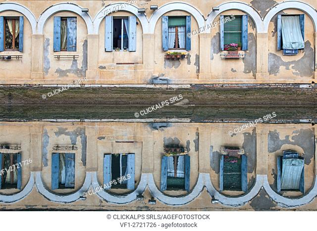 Europe, Italy, Veneto, Chioggia. Reflection in the water