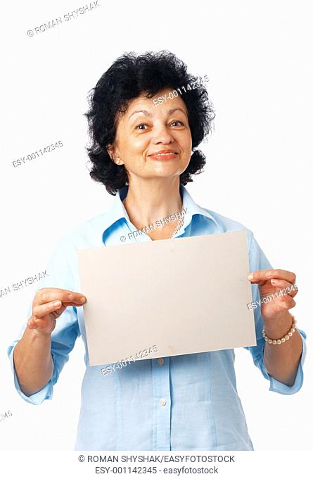 An elderly woman showing a blank billboard on white background