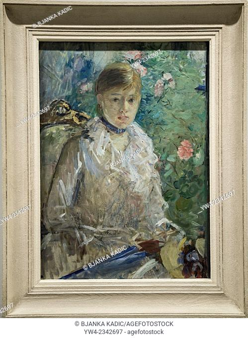 Berthe Morisot painting 'Young woman in front of window', oil on canvas, 1879, Fabre Museum, Montpellier, France