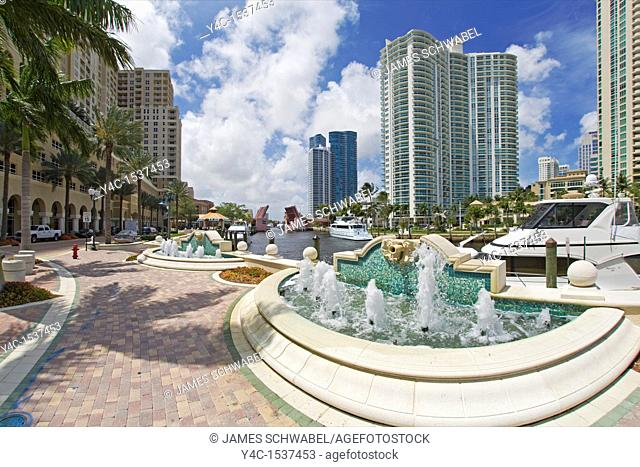 Riverwalk along the New River in downtown Fort Lauderdale Florida