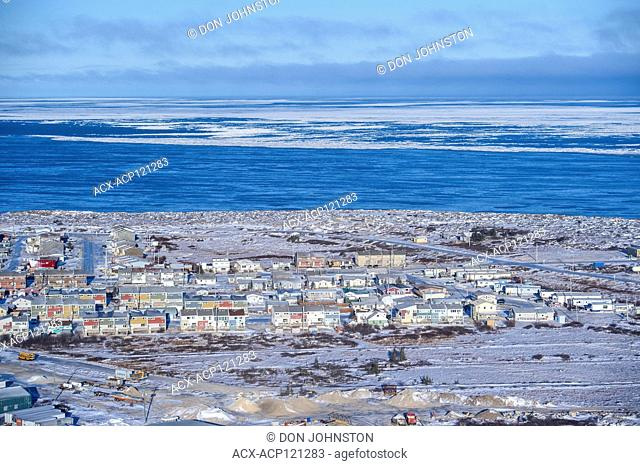 Town of Churchill from the air in early winter