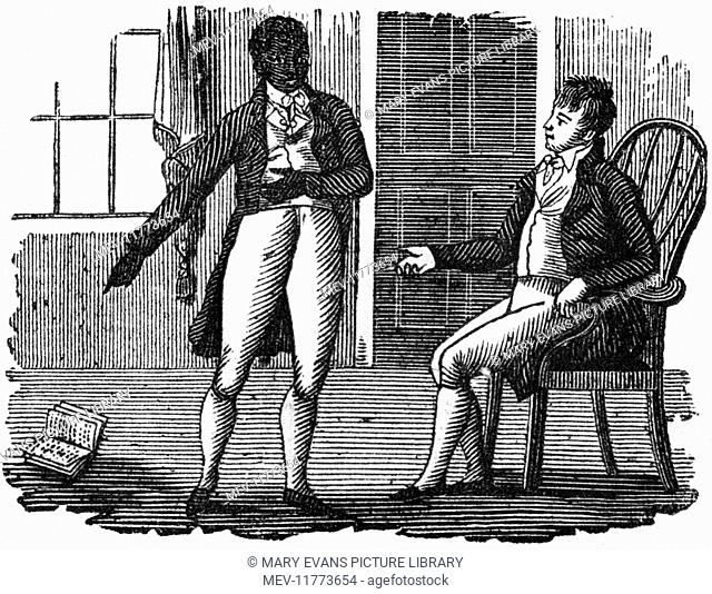 A gentleman with a black servant, pointing to a book in the floor, c. 1800