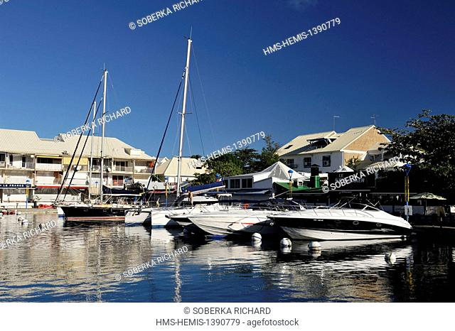 France, French West Indies, Saint Martin island, Marigot, boats moored in the marina