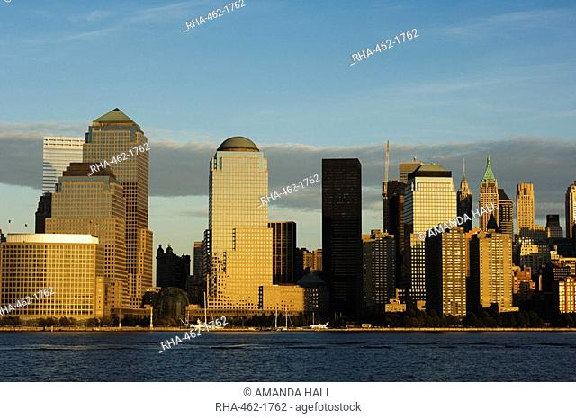 World Financial Center Buildings and skyline across the Hudson River, Manhattan, New York City, New York, United States of America, North America