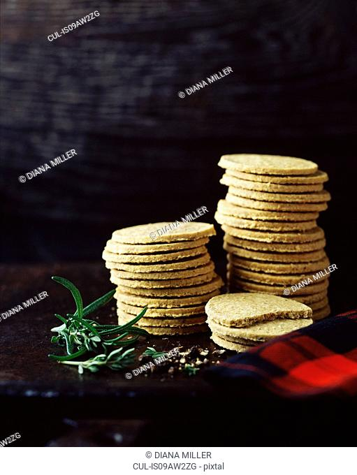 Stack of black pepper and rosemary oatcakes