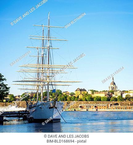 Frigate boat docked in harbor, Stockholm, Stockholm, Sweden