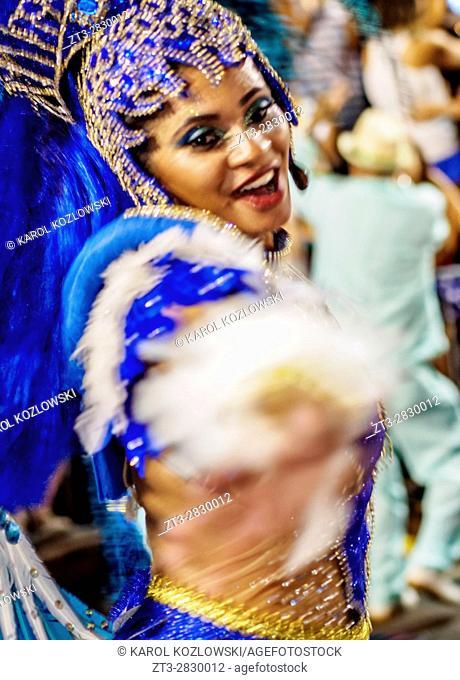 Brazil, State of Rio de Janeiro, City of Rio de Janeiro, Samba Dancer in the Carnival Parade