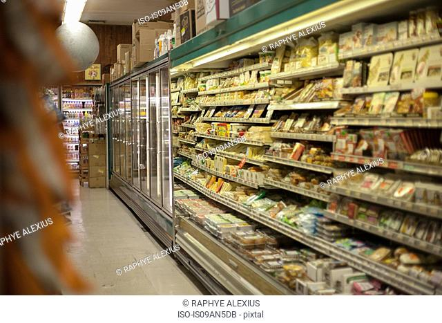 Grocery aisle in health food shop