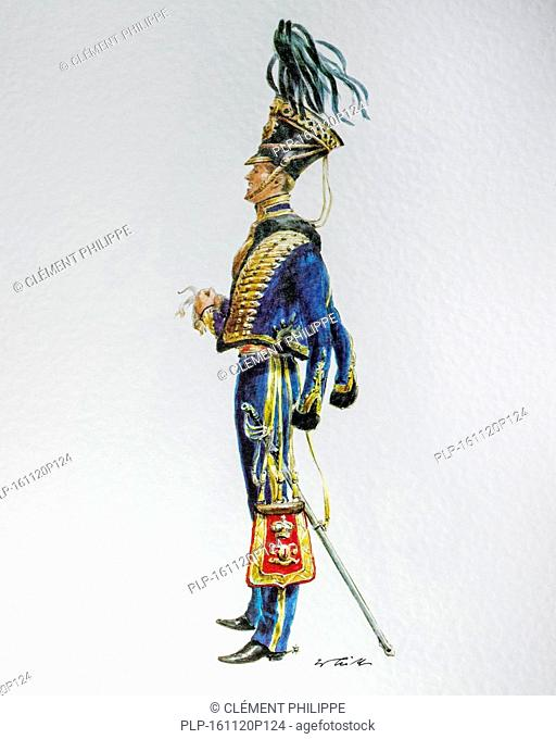English officer in uniform of the 1850 7th Queen's Own Hussars, cavalry regiment in the British Army