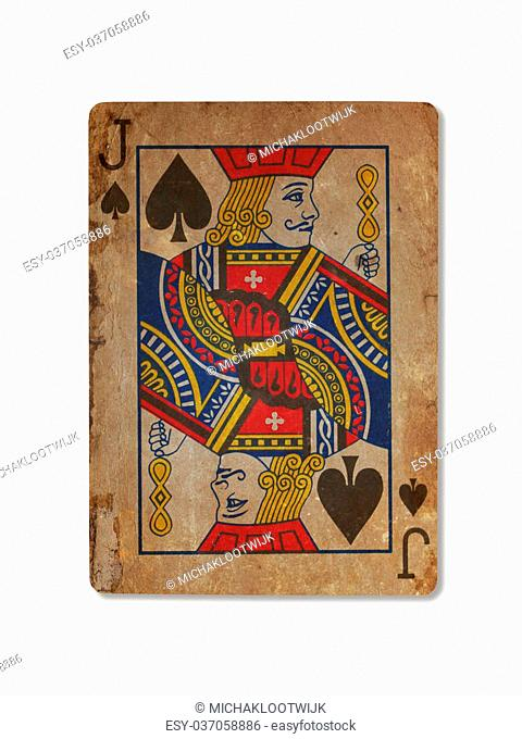 Very old playing card isolated on a white background, XXXX
