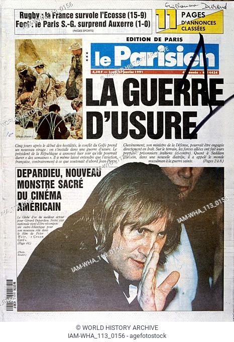 Headline in 'Le Parisien' a French newspaper, 21st January 1991, concerning French involvement in the Gulf War (2 August 1990 - 28 February 1991)