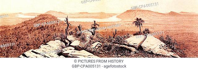 Cambodia: A view of the Bassac River basin, c. 1866-68
