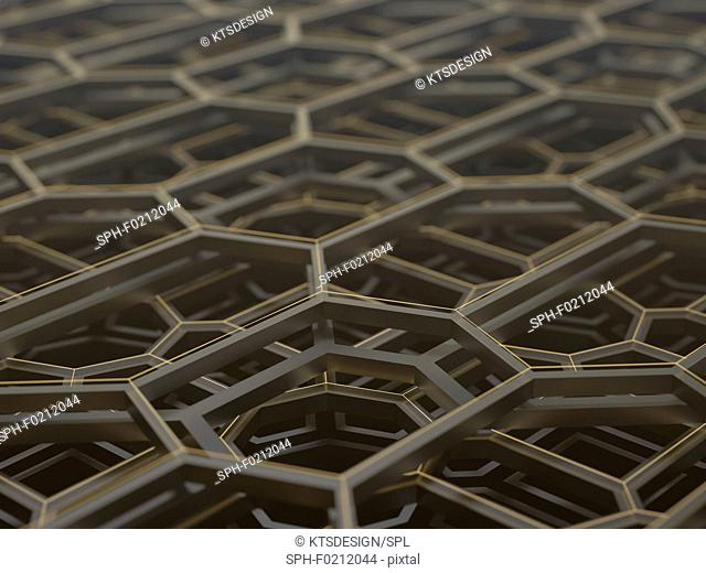 Abstract hexagonal structure, illustration