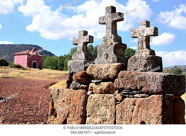 Malta crosses and small chapel in Albendiego, Guadlajara, Spain