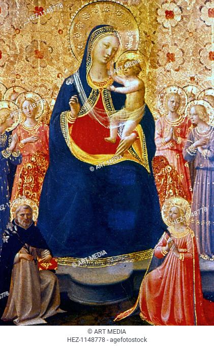 Madonna and Child with Saints', mid 15th century. The Virgin Mary seated with the infant Jesus on her lap against a background of saints