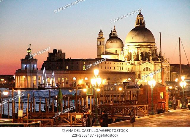 Sunset in the Grand Canal, Santa Maria della Salute Venice Italy