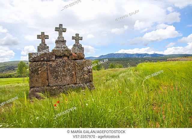 Stone crosses. Albendiego, Guadalajara province, Castilla La Mancha, Spain