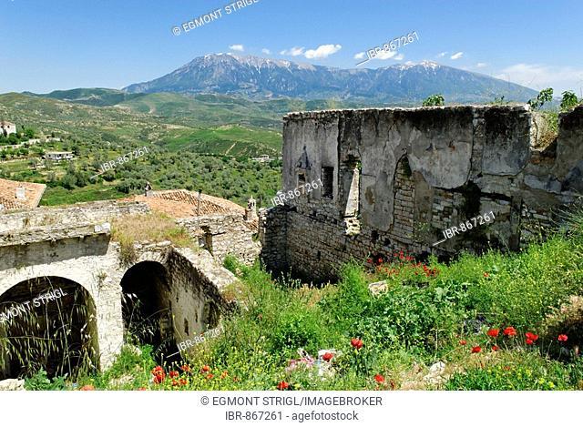 Ruins in Berat fortress, view of the Tomor Range, UNESCO World Heritage Site, Albania, Europe
