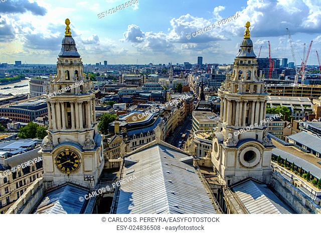 Aerial panoramic of London from St. Pauls Cathedral in England, United Kingdom
