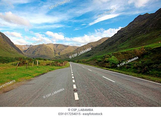 Road in North part of Scotland end of Loch Shiel, UK