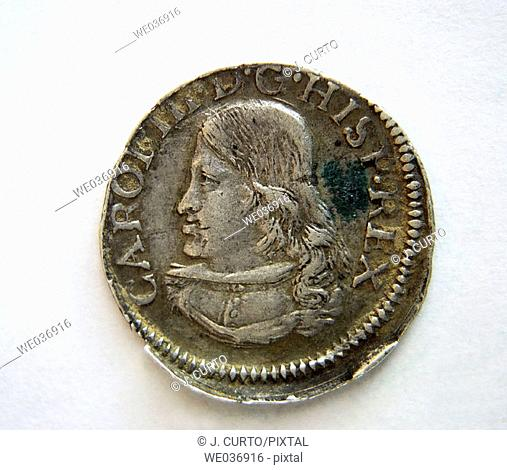 'Croat' (aka 'dieciocheno' ) coin with portrait of Charles of Habsburg the Pretender (1701-1714). Spain