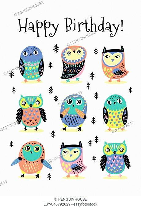 Happy Birthday card with cute nine decorative owls and trees. Vector illustration