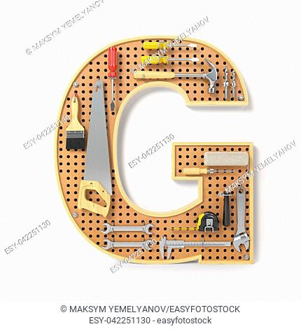 Letter G. Alphabet from the tools on the metal pegboard isolated on white. 3d illustration