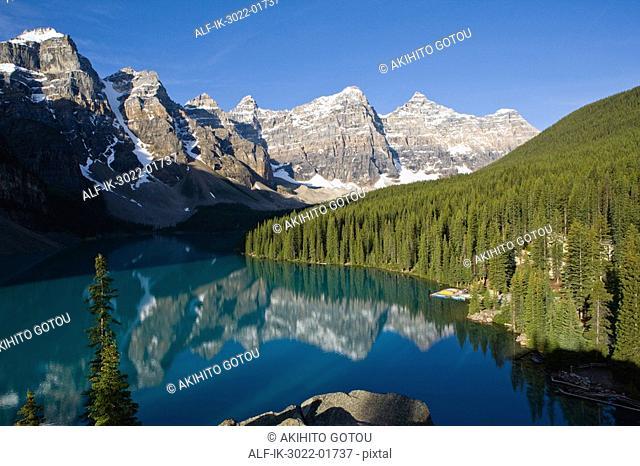 Scenic View of Moraine Lake in Banff, Alberta, Canada